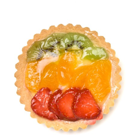 Custard filled tart topped with summer fruits of Strawberry, mandarin orange and kiwi fruit. Stock Photo - 7331212