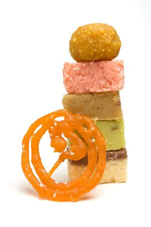 low perspective: Abstract vibrant selection of Asian Confectionery from low perspective Stock Photo