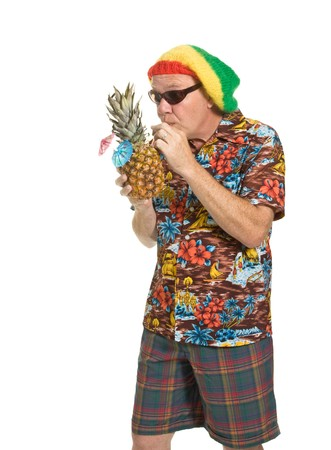 Expressive old man in loud shirt holiday concept isolated against white. Stock Photo - 7380240