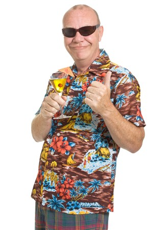 goofy: Expressive old man in loud shirt holiday concept isolated against white.