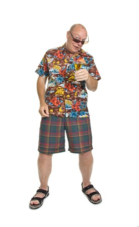 Expressive old man in loud shirt holiday concept isolated against white. photo