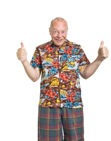 old man: Expressive old man in loud shirt holiday concept isolated against white.