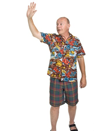 Expressive old man in loud shirt holiday concept isolated against white. Stock Photo - 7380221