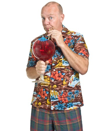 Expressive old man in loud shirt holiday concept isolated against white. Stock Photo - 7380269