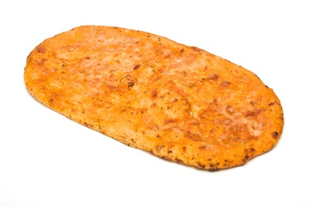 cheesy: Cheesy Mediterrainian Flatbread from low perspective isolated against white background.