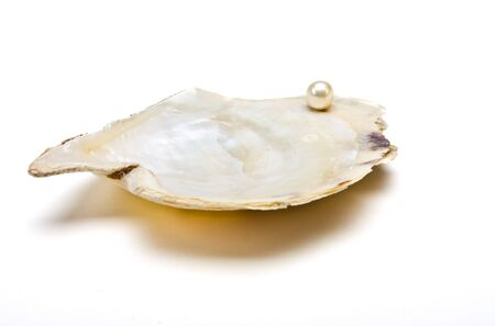 depict: Pearl resting on open oyster shell to depict wealth concept isolated against white.