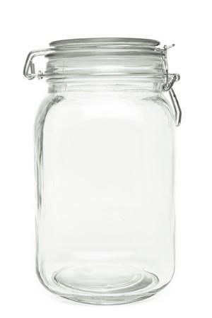 frasco: Aire puro apretado preservar Jar aislado sobre fondo blanco. Foto de archivo