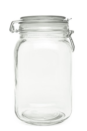 jar: Clear air tight Preserve Jar isolated on white background.