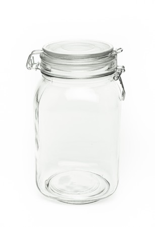Clear air tight Preserve Jar isolated on white background.