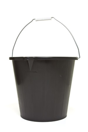 low perspective: Black Plastic bucket from low perspective isolated on white. Stock Photo