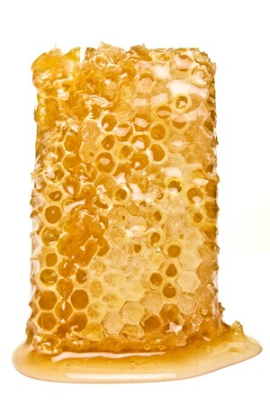 low perspective: Natural Honeycomb from low perspective isolated on white. Stock Photo