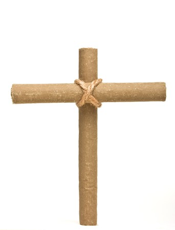Anti Smoking concept of crucifix made from 2 cigars tied with rope isolated on white. photo