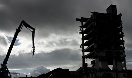The last part of the infamous  Get Carter Trinity Square car park being demolished in Gateshead. photo