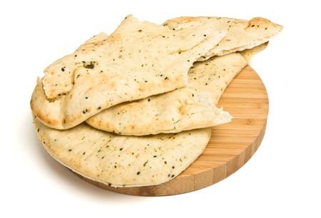 Indian plat unlevened côté du pain savent nas pain naan habituellement servi avec du curry.
