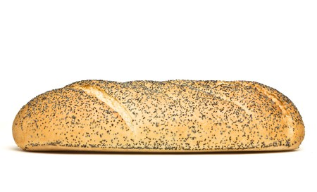 bloomer: Poppy Seeded Bloomer fresh loaf of bread isolated on white background. Stock Photo