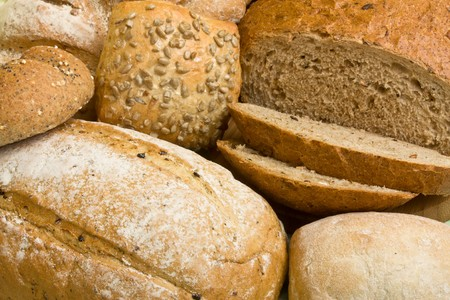 A selection of rustic organic handmade gourmet breads.