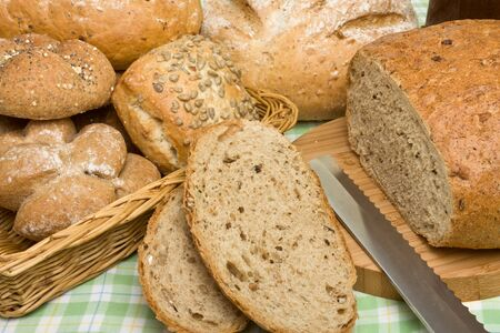 A selection of rustic organic handmade gourmet breads. photo