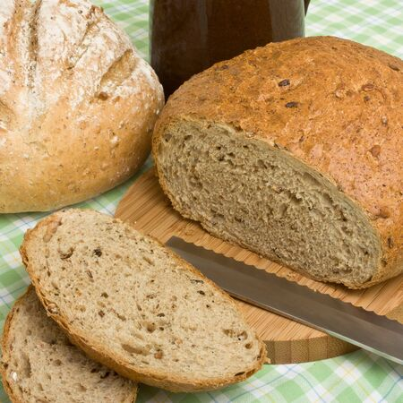 A selection of rustic organic handmade gourmet breads. Stock Photo - 7987932