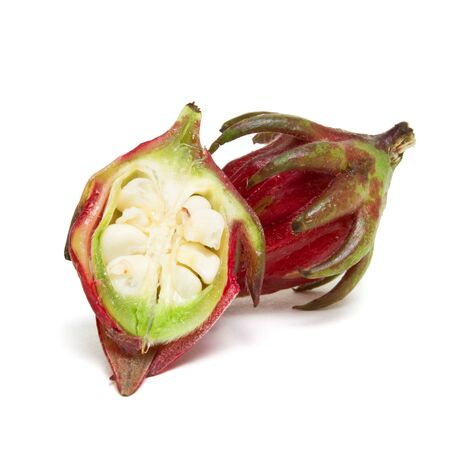 Rosella Bud from the Hibiscus family used in asian cooking to make pickles isolated on white. photo