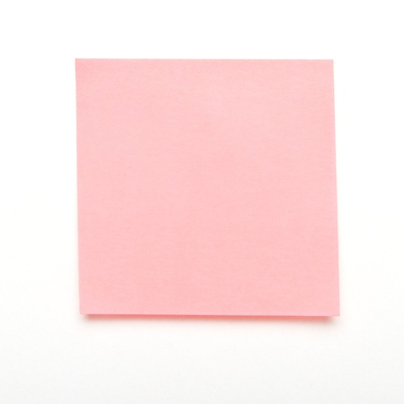 Light Pink self adhesive post it note isolated on white. photo