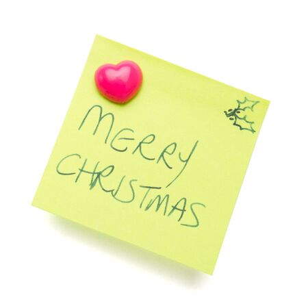 merry christmas message on post it note isolated on white. Stock Photo - 8369504