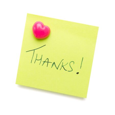thanks message on post it note isolated on white. photo