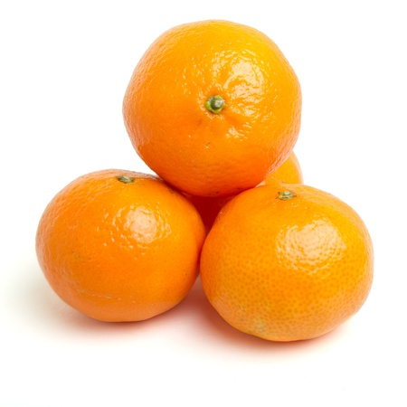 low perspective: Clementines from low perspective isolated on white.
