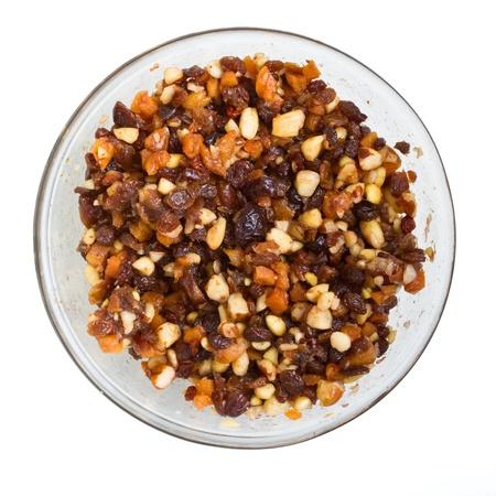 rum cake: Vista aerea Xmas miscela di torta di noci e frutti ammollo aggiunto rum, brandy e sherry.