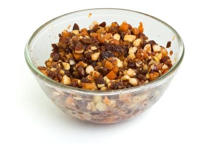 rum cake: Glass bowl Xmas Mix di torta di noci e frutti in ammollo aggiunto rum, il brandy e sherry.
