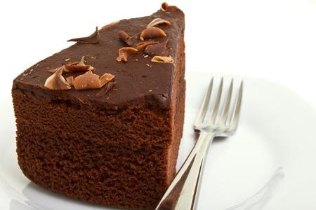 Slice of homemade Chocolate Cake isolated on white.