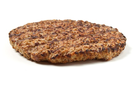 patty: Cooked minced beef patty isolated on white background