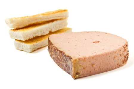 foie gras: Pate Foie Gras with french toast isolated on white.
