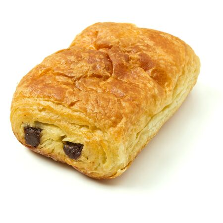 low perspective: Pain au Chocolate french pastry from low perspective isolated on white. Stock Photo