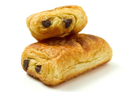 au: Pain au Chocolate french pastry from low perspective isolated on white. Stock Photo