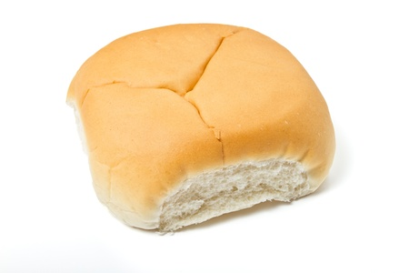 bap: Soft white bap bread roll used for a sandwich isolated on white. Stock Photo