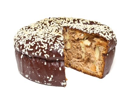 low cut: Chocolate Panettone a traditional Italian Christmas Cake filled with custard.