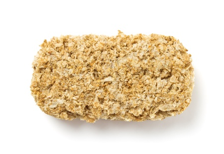 Breakfast Biscuit made from whole wheat isolated on white. photo
