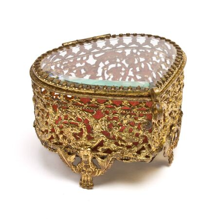Vintage ornate heart shape Trinket box isolated on white. Stock Photo - 8801163