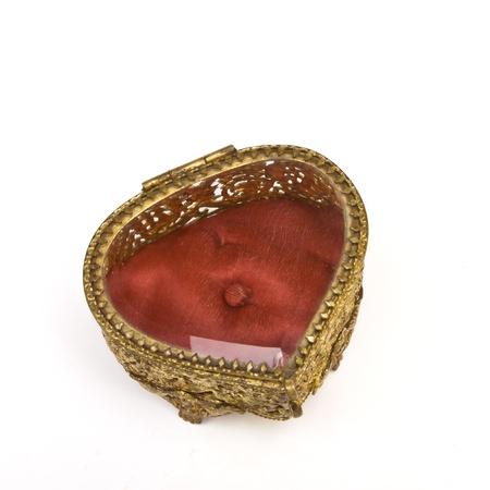 Vintage ornate heart shape Trinket box isolated on white. Stock Photo - 8801156