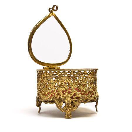 Vintage ornate heart shape Trinket box isolated on white. Stock Photo - 8801157