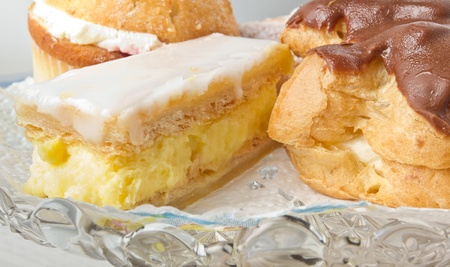Close up of afternoon tea cream cakes selection. Stock Photo - 8801210