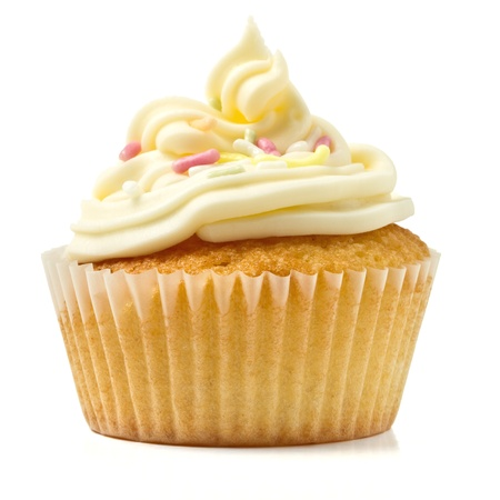 cake with icing: cup cake isolated on white