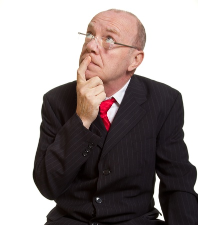 Expressive senior businessman isolated on white thinking concept