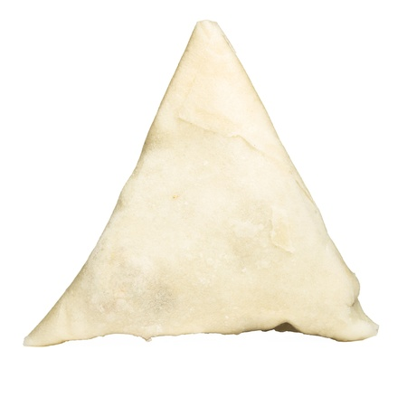 Uncooked Frozen Samosa isolated on white prior to cooking. photo