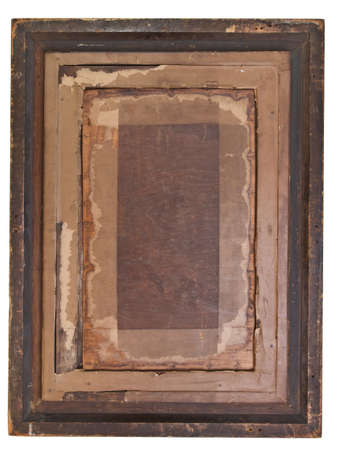 Antique carved gesso picture Frame isolated on white. photo