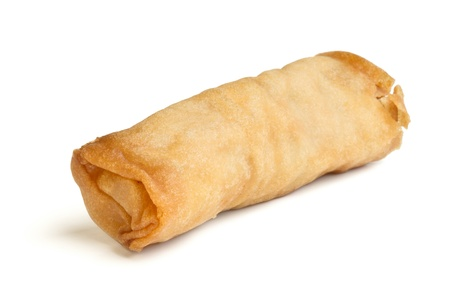 Spring Roll also known as  Egg Roll isolated on white. Stock Photo