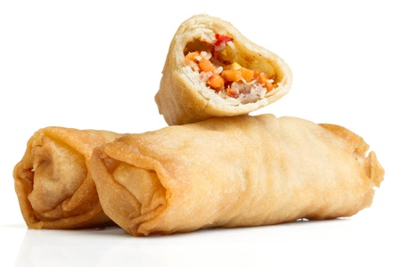 roll: Spring Roll also known as  Egg Roll isolated on white. Stock Photo