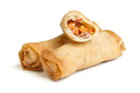 spring roll: Rotolo primaverile noto anche come Egg Roll isolated on white.