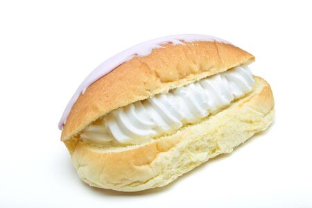 choux bun: Iced Split Cream Cake isolated on white background. Stock Photo