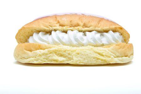 cream cake: Iced Split Cream Cake isolated on white background. Stock Photo